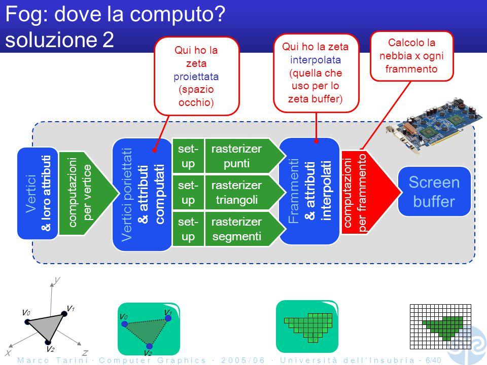 M a r c o T a r i n i ‧ C o m p u t e r G r a p h i c s ‧ 2 0 0 5 / 0 6 ‧ U n i v e r s i t à d e l l ' I n s u b r i a - 7/40 Fog: dove la computo Due soluzioni: –per vertice –per frammento Dipende dall implementazione.