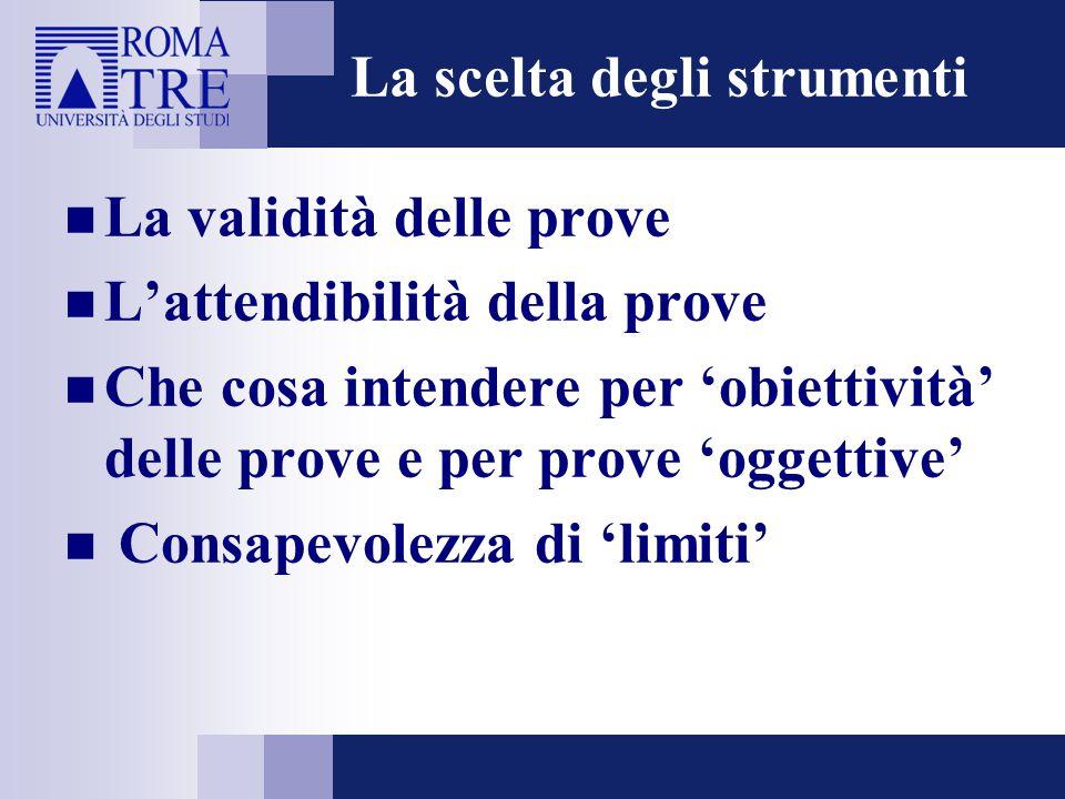 La scelta degli strumenti La validità delle prove L'attendibilità della prove Che cosa intendere per 'obiettività' delle prove e per prove 'oggettive'