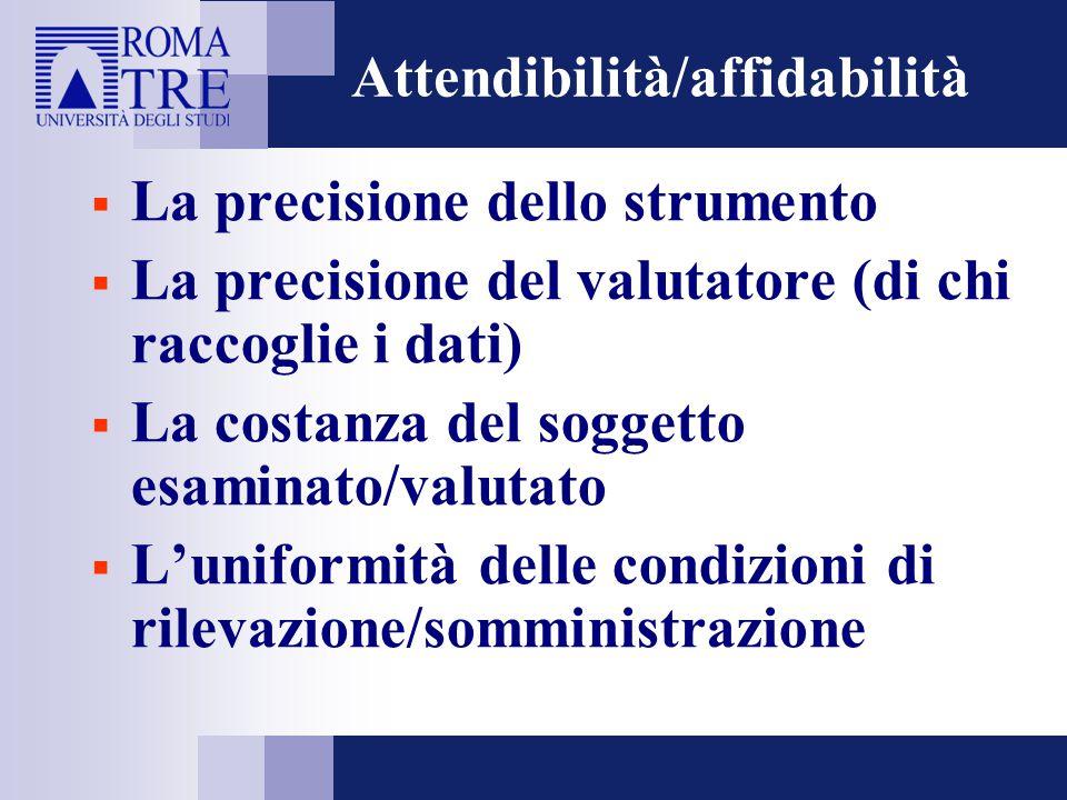 Attendibilità/affidabilità  La precisione dello strumento  La precisione del valutatore (di chi raccoglie i dati)  La costanza del soggetto esamina