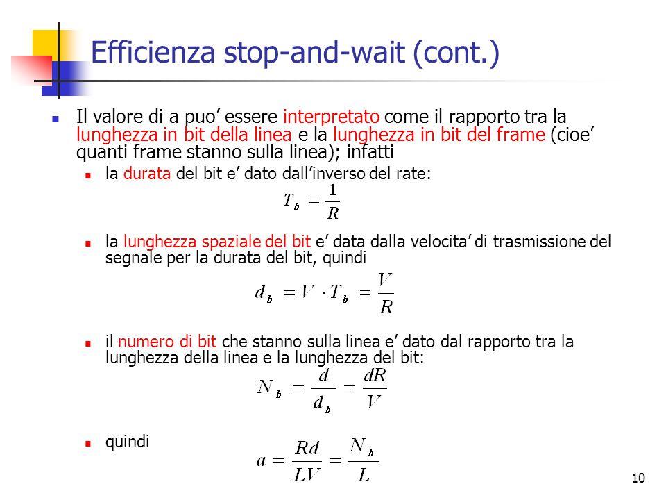 10 Efficienza stop-and-wait (cont.) Il valore di a puo' essere interpretato come il rapporto tra la lunghezza in bit della linea e la lunghezza in bit del frame (cioe' quanti frame stanno sulla linea); infatti la durata del bit e' dato dall'inverso del rate: la lunghezza spaziale del bit e' data dalla velocita' di trasmissione del segnale per la durata del bit, quindi il numero di bit che stanno sulla linea e' dato dal rapporto tra la lunghezza della linea e la lunghezza del bit: quindi
