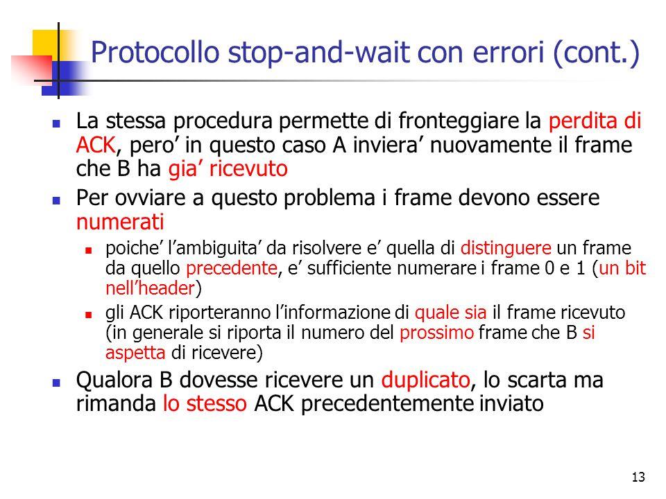13 Protocollo stop-and-wait con errori (cont.) La stessa procedura permette di fronteggiare la perdita di ACK, pero' in questo caso A inviera' nuovamente il frame che B ha gia' ricevuto Per ovviare a questo problema i frame devono essere numerati poiche' l'ambiguita' da risolvere e' quella di distinguere un frame da quello precedente, e' sufficiente numerare i frame 0 e 1 (un bit nell'header) gli ACK riporteranno l'informazione di quale sia il frame ricevuto (in generale si riporta il numero del prossimo frame che B si aspetta di ricevere) Qualora B dovesse ricevere un duplicato, lo scarta ma rimanda lo stesso ACK precedentemente inviato