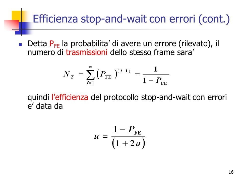 16 Efficienza stop-and-wait con errori (cont.) Detta P FE la probabilita' di avere un errore (rilevato), il numero di trasmissioni dello stesso frame sara' quindi l'efficienza del protocollo stop-and-wait con errori e' data da