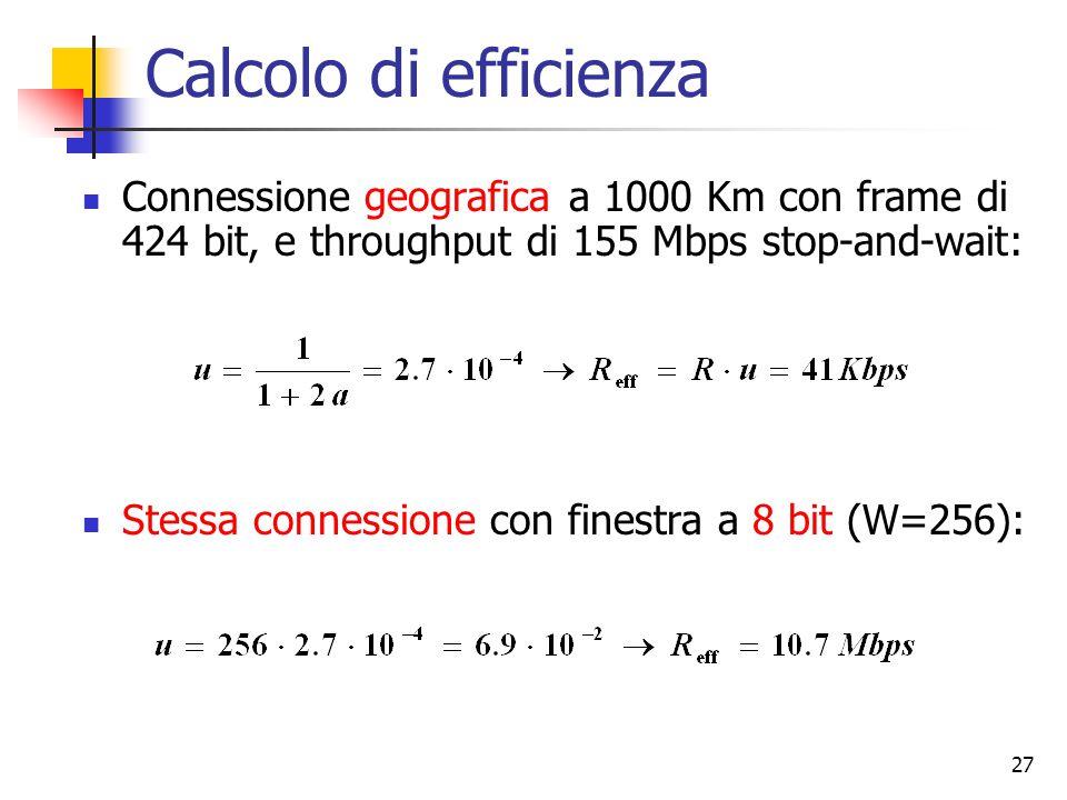 27 Calcolo di efficienza Connessione geografica a 1000 Km con frame di 424 bit, e throughput di 155 Mbps stop-and-wait: Stessa connessione con finestra a 8 bit (W=256):
