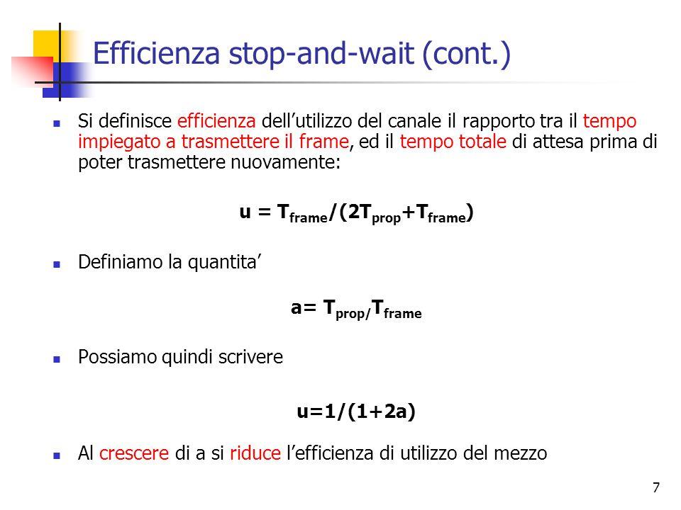 7 Efficienza stop-and-wait (cont.) Si definisce efficienza dell'utilizzo del canale il rapporto tra il tempo impiegato a trasmettere il frame, ed il tempo totale di attesa prima di poter trasmettere nuovamente: u = T frame /(2T prop +T frame ) Definiamo la quantita' a= T prop/ T frame Possiamo quindi scrivere u=1/(1+2a) Al crescere di a si riduce l'efficienza di utilizzo del mezzo