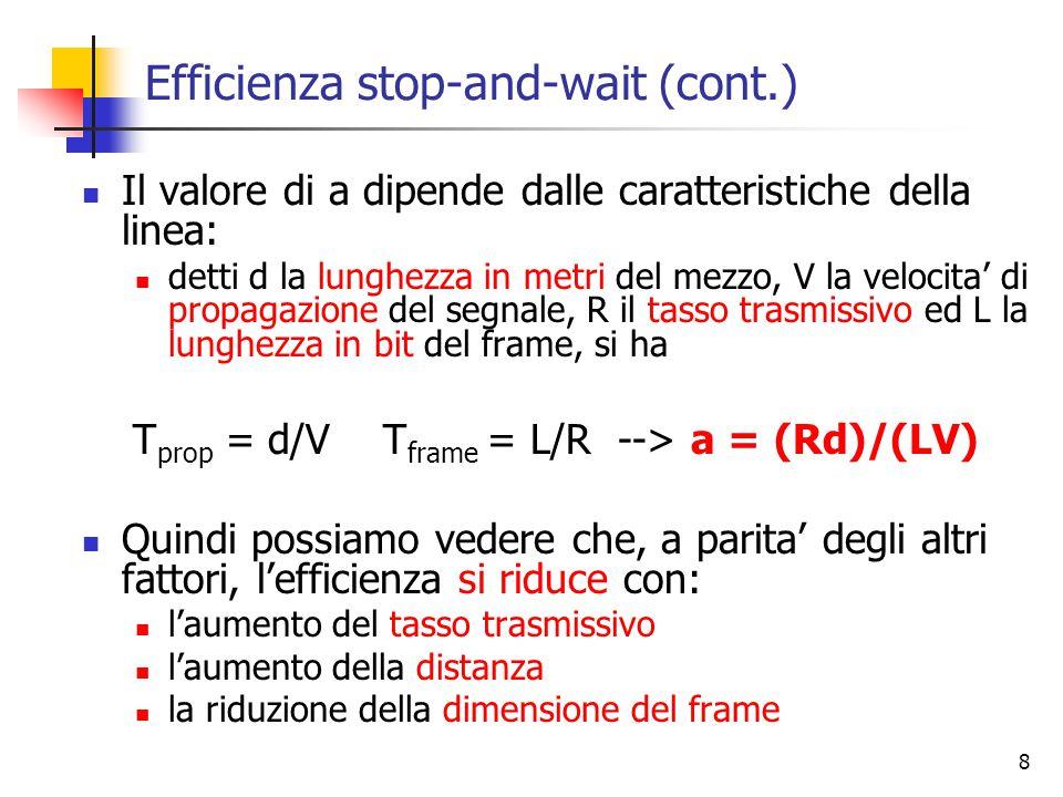 8 Efficienza stop-and-wait (cont.) Il valore di a dipende dalle caratteristiche della linea: detti d la lunghezza in metri del mezzo, V la velocita' di propagazione del segnale, R il tasso trasmissivo ed L la lunghezza in bit del frame, si ha T prop = d/V T frame = L/R --> a = (Rd)/(LV) Quindi possiamo vedere che, a parita' degli altri fattori, l'efficienza si riduce con: l'aumento del tasso trasmissivo l'aumento della distanza la riduzione della dimensione del frame