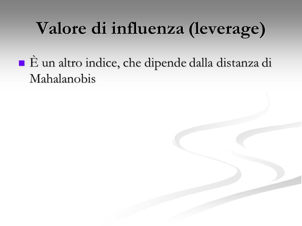 Valore di influenza (leverage) È un altro indice, che dipende dalla distanza di Mahalanobis È un altro indice, che dipende dalla distanza di Mahalanobis