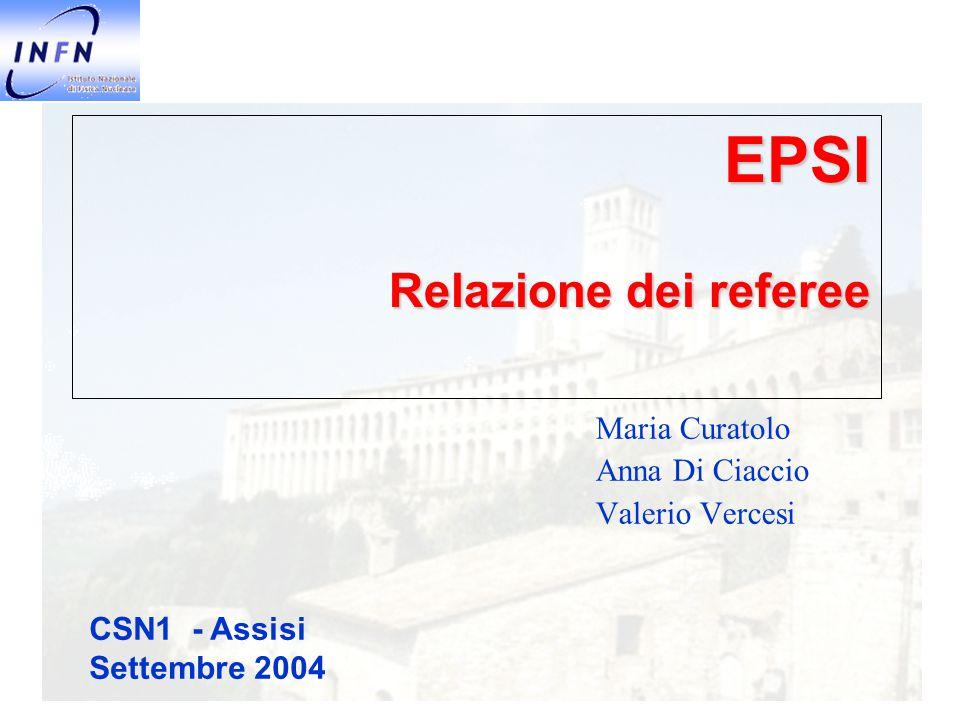 EPSI Relazione dei referee Maria Curatolo Anna Di Ciaccio Valerio Vercesi CSN1 - Assisi Settembre 2004