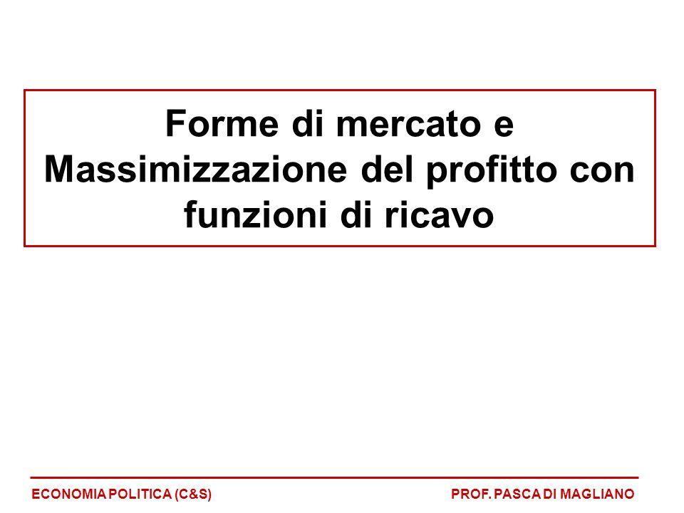 Forme di mercato e Massimizzazione del profitto con funzioni di ricavo ECONOMIA POLITICA (C&S)PROF. PASCA DI MAGLIANO