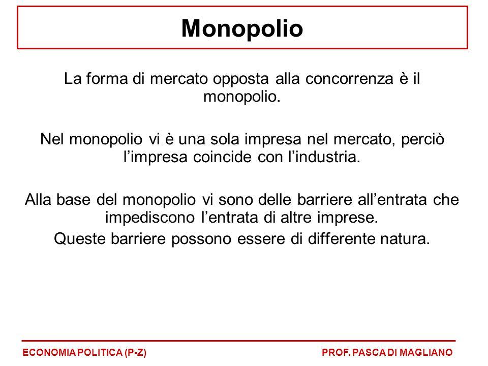 Monopolio La forma di mercato opposta alla concorrenza è il monopolio. Nel monopolio vi è una sola impresa nel mercato, perciò l'impresa coincide con