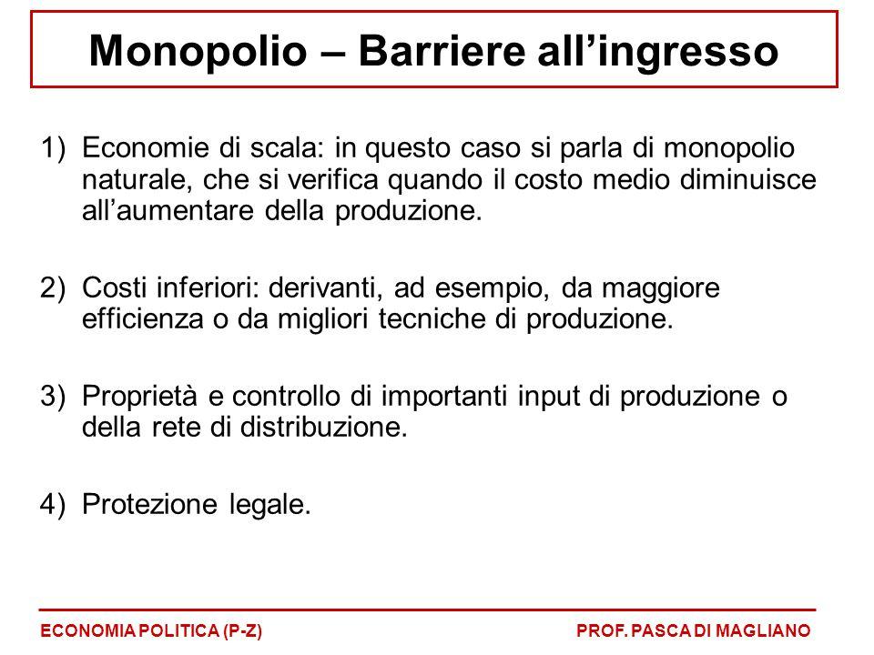 Monopolio – Barriere all'ingresso 1)Economie di scala: in questo caso si parla di monopolio naturale, che si verifica quando il costo medio diminuisce