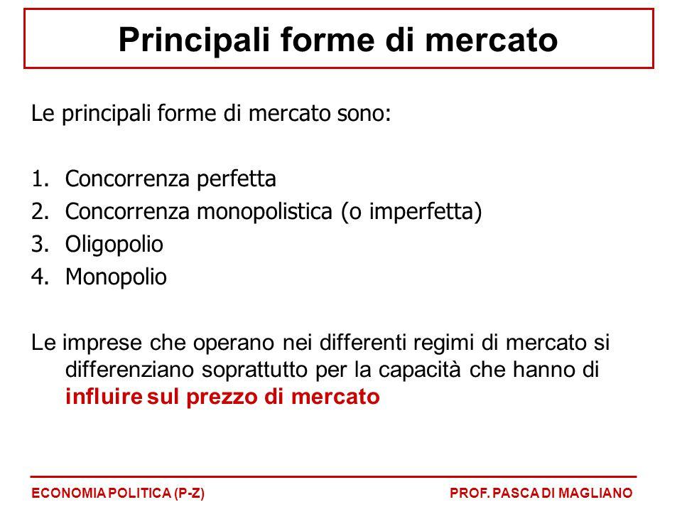 Principali forme di mercato Le principali forme di mercato sono: 1.Concorrenza perfetta 2.Concorrenza monopolistica (o imperfetta) 3.Oligopolio 4.Mono