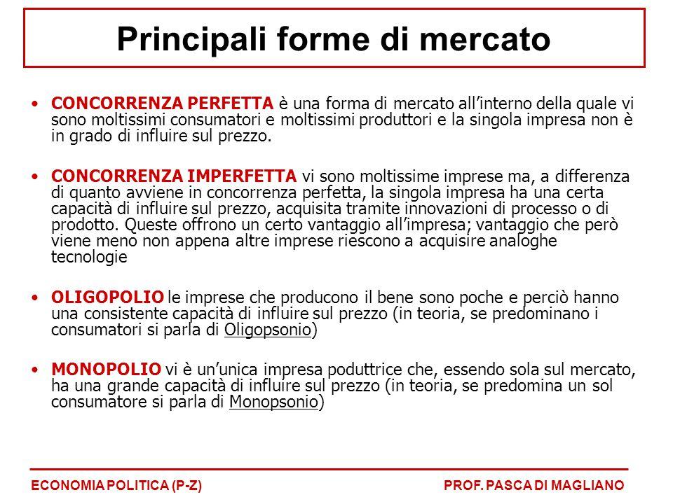 Principali forme di mercato CONCORRENZA PERFETTA è una forma di mercato all'interno della quale vi sono moltissimi consumatori e moltissimi produttori