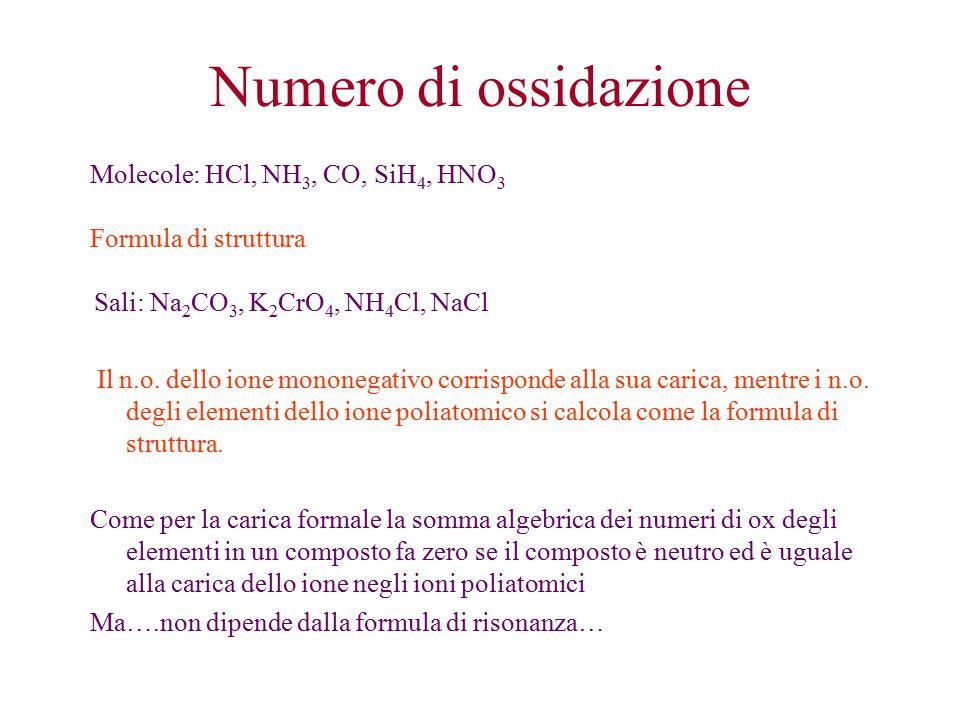 Molecole: HCl, NH 3, CO, SiH 4, HNO 3 Formula di struttura Sali: Na 2 CO 3, K 2 CrO 4, NH 4 Cl, NaCl Il n.o.