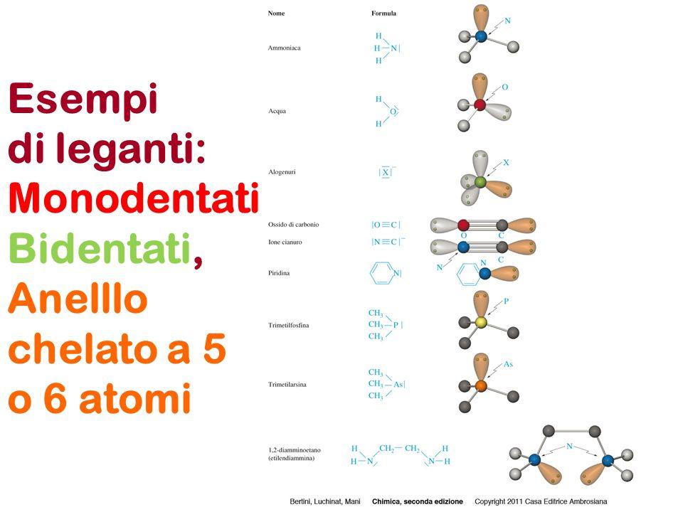 Esempi di leganti: Monodentati Bidentati, Anelllo chelato a 5 o 6 atomi