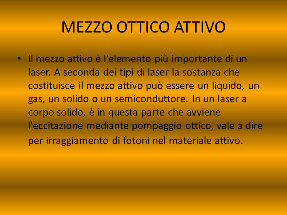 MEZZO OTTICO ATTIVO Il mezzo attivo è l'elemento più importante di un laser. A seconda dei tipi di laser la sostanza che costituisce il mezzo attivo p