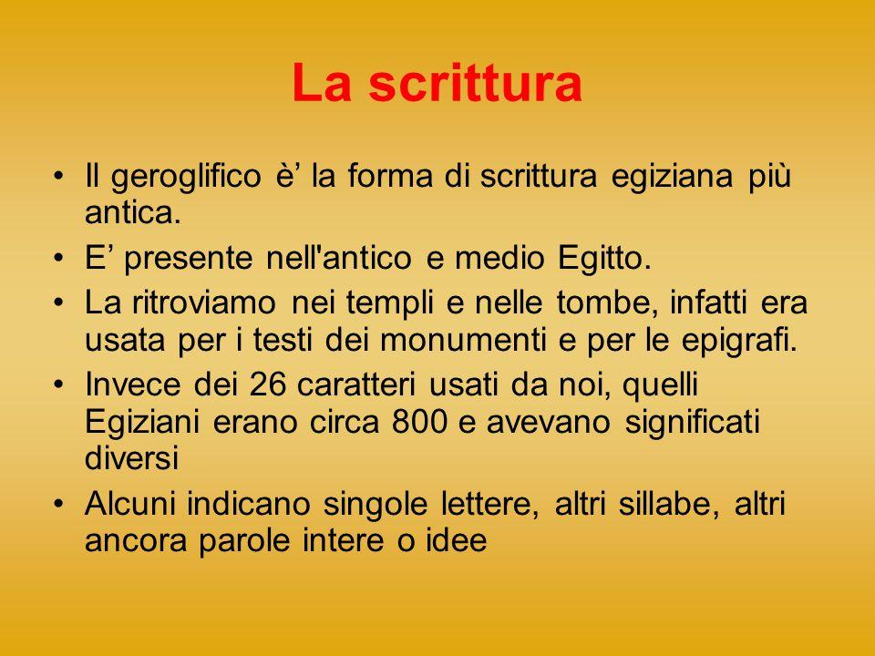 La scrittura Il geroglifico è' la forma di scrittura egiziana più antica. E' presente nell'antico e medio Egitto. La ritroviamo nei templi e nelle tom