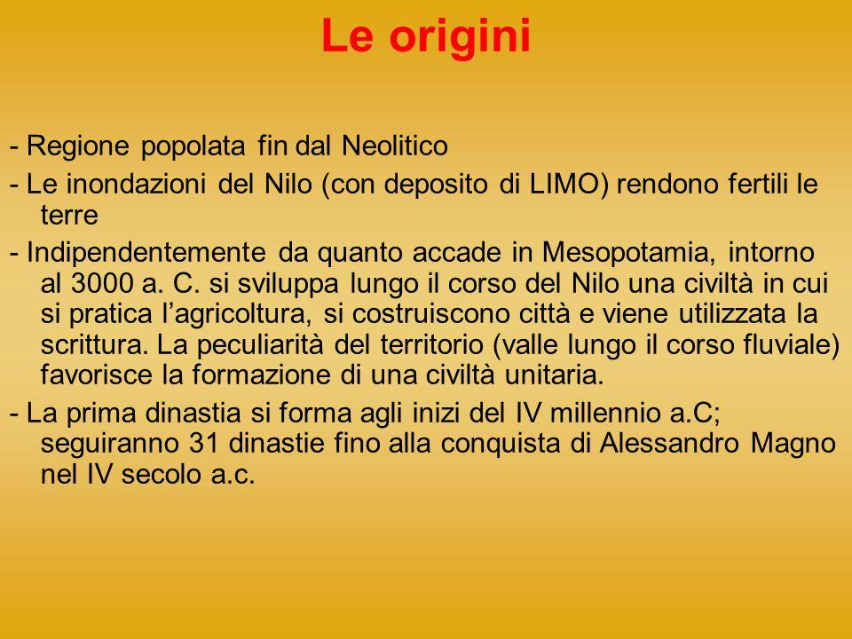 Le origini - Regione popolata fin dal Neolitico - Le inondazioni del Nilo (con deposito di LIMO) rendono fertili le terre - Indipendentemente da quant