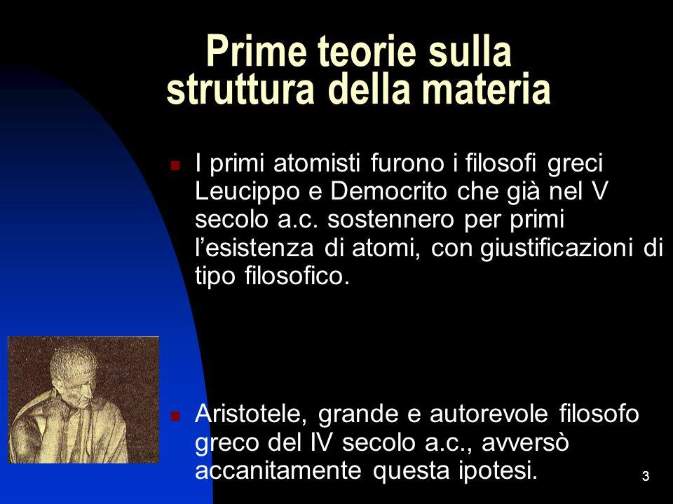 3 Prime teorie sulla struttura della materia I primi atomisti furono i filosofi greci Leucippo e Democrito che già nel V secolo a.c. sostennero per pr