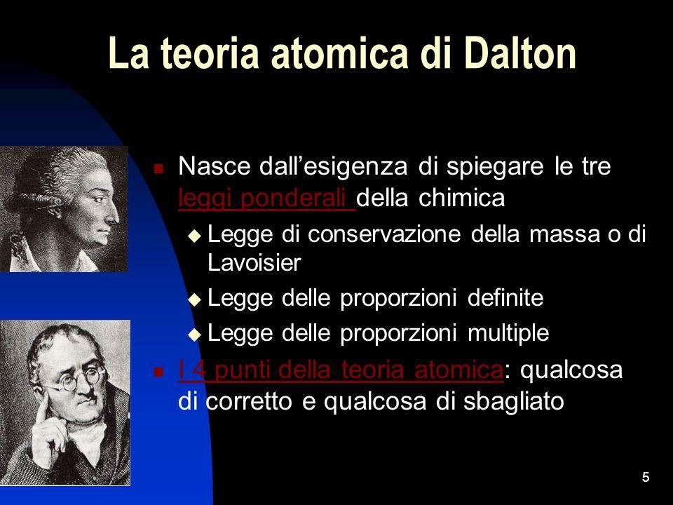 5 La teoria atomica di Dalton Nasce dall'esigenza di spiegare le tre leggi ponderali della chimica leggi ponderali  Legge di conservazione della mass