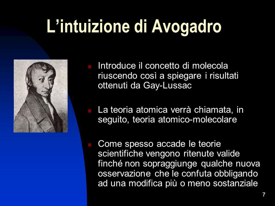 7 L'intuizione di Avogadro Introduce il concetto di molecola riuscendo così a spiegare i risultati ottenuti da Gay-Lussac La teoria atomica verrà chia