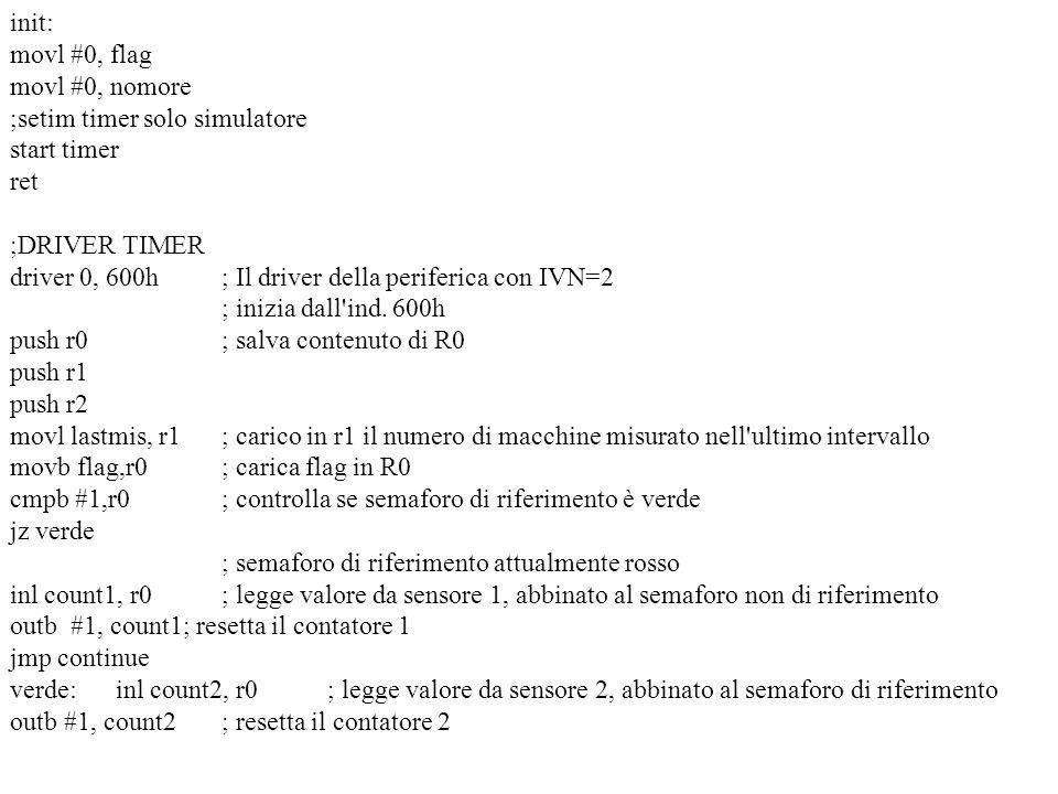 init: movl #0, flag movl #0, nomore ;setim timer solo simulatore start timer ret ;DRIVER TIMER driver 0, 600h ; Il driver della periferica con IVN=2 ;