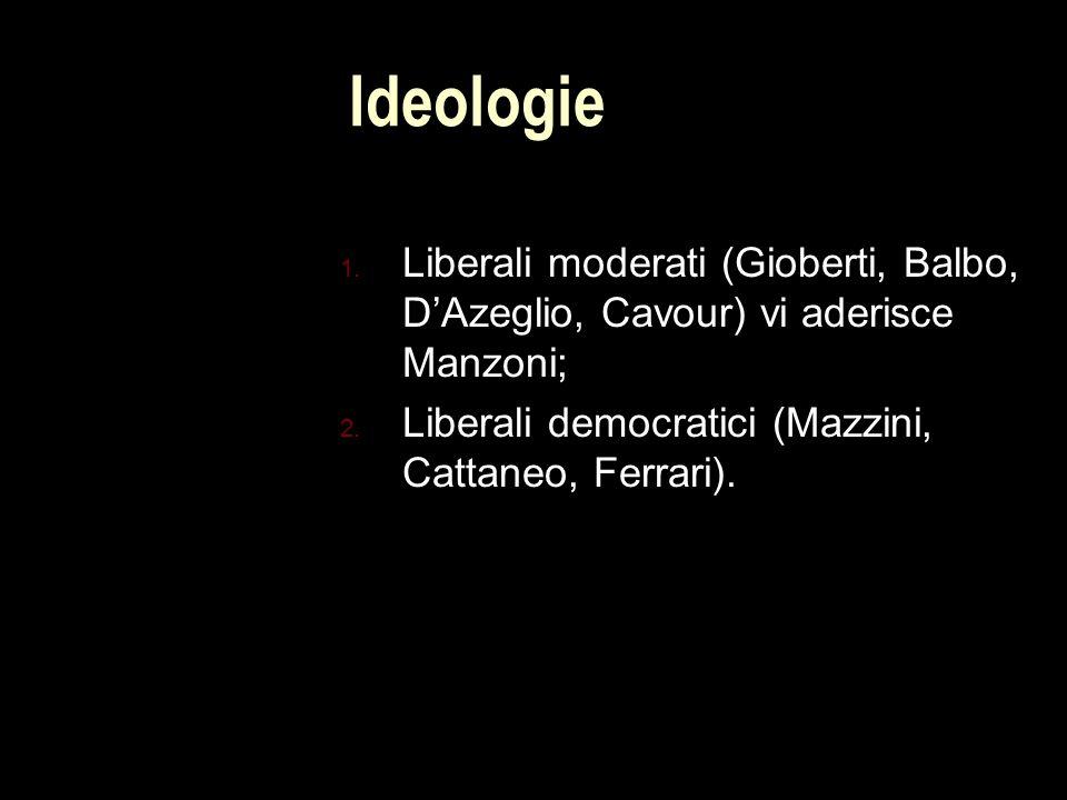 Ideologie 1.Liberali moderati (Gioberti, Balbo, D'Azeglio, Cavour) vi aderisce Manzoni; 2.