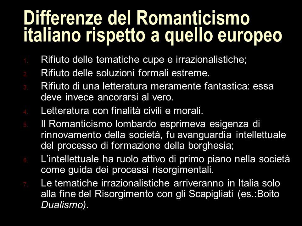Differenze del Romanticismo italiano rispetto a quello europeo 1.