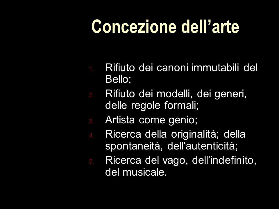 Concezione dell'arte 1.Rifiuto dei canoni immutabili del Bello; 2.