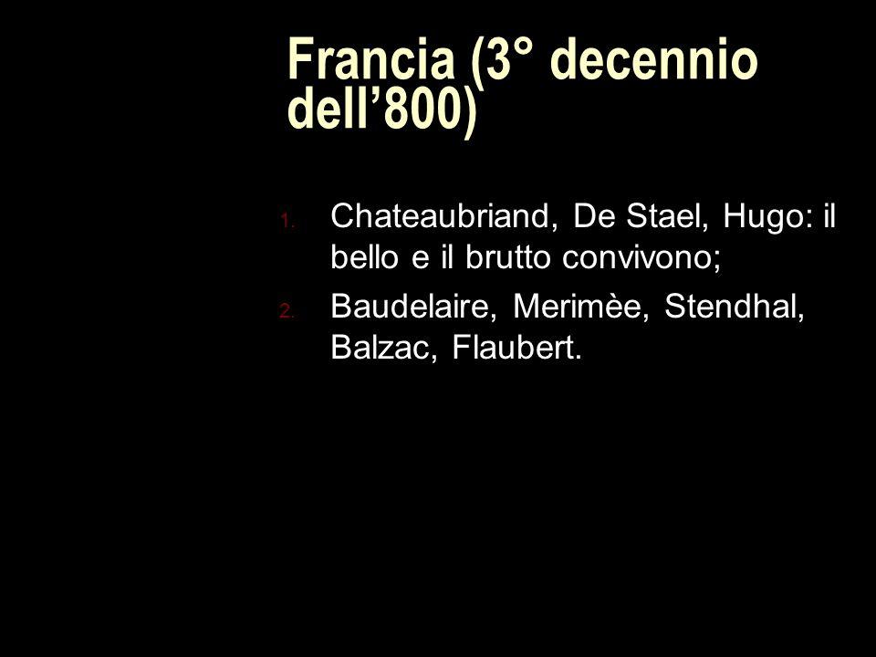 Francia (3° decennio dell'800) 1.Chateaubriand, De Stael, Hugo: il bello e il brutto convivono; 2.