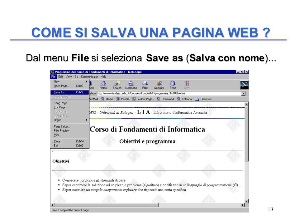 13 COME SI SALVA UNA PAGINA WEB . Dal menu File si seleziona Save as (Salva con nome)...