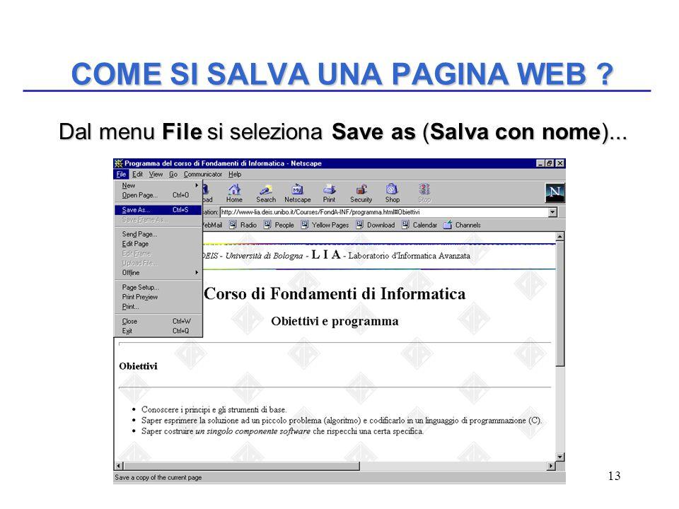 13 COME SI SALVA UNA PAGINA WEB ? Dal menu File si seleziona Save as (Salva con nome)... Dal menu File si seleziona Save as (Salva con nome)...