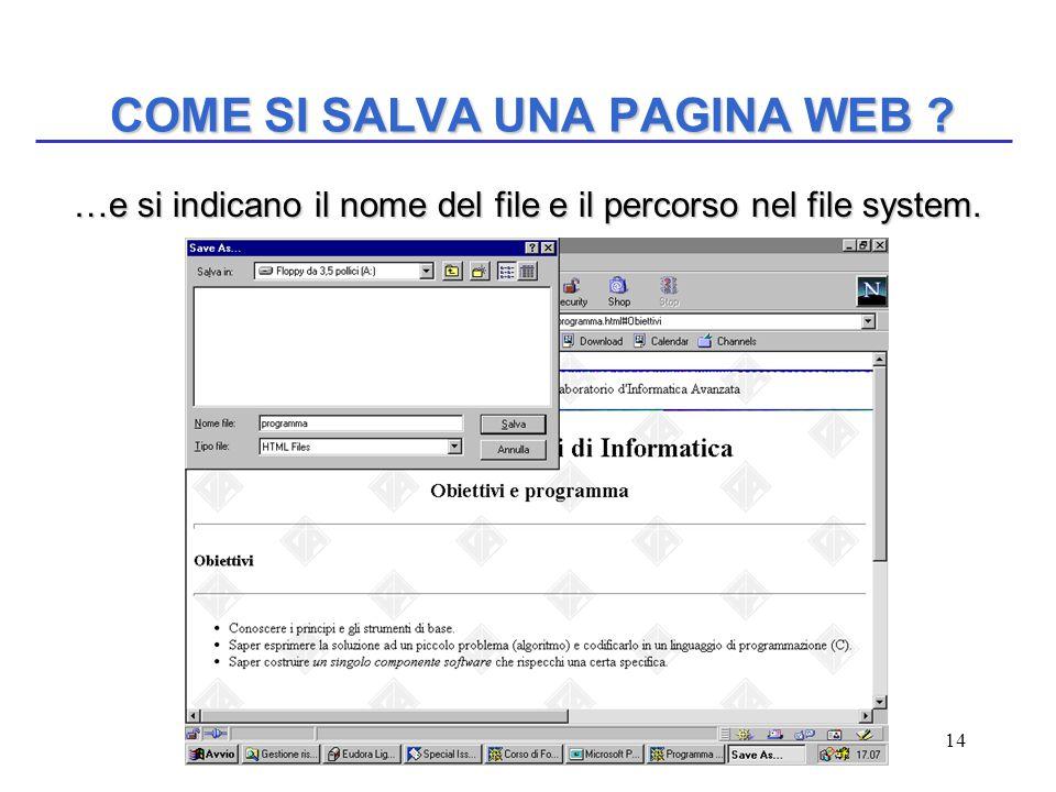 14 COME SI SALVA UNA PAGINA WEB ? …e si indicano il nome del file e il percorso nel file system. …e si indicano il nome del file e il percorso nel fil