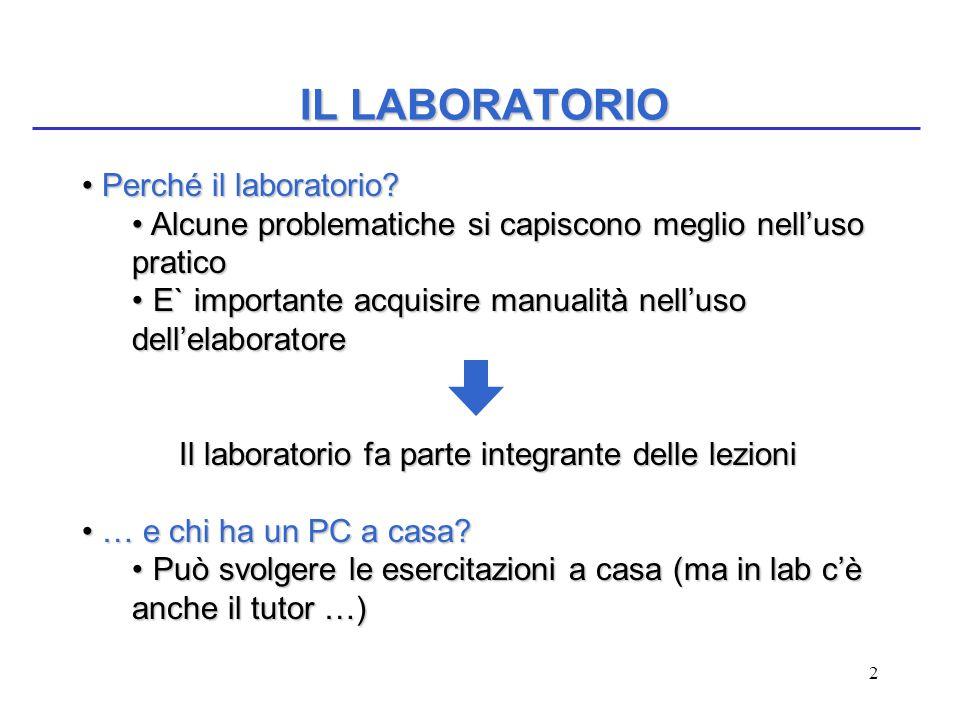 2 IL LABORATORIO Perché il laboratorio? Perché il laboratorio? Alcune problematiche si capiscono meglio nell'uso pratico Alcune problematiche si capis