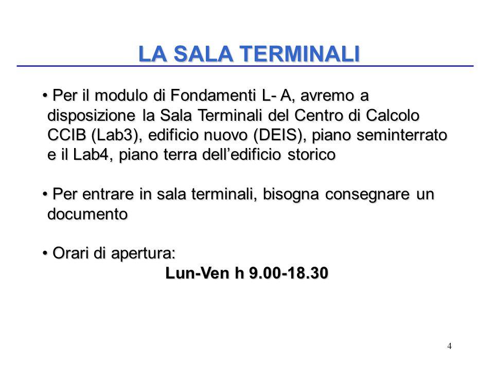 4 LA SALA TERMINALI Per il modulo di Fondamenti L- A, avremo a disposizione la Sala Terminali del Centro di Calcolo CCIB (Lab3), edificio nuovo (DEIS)