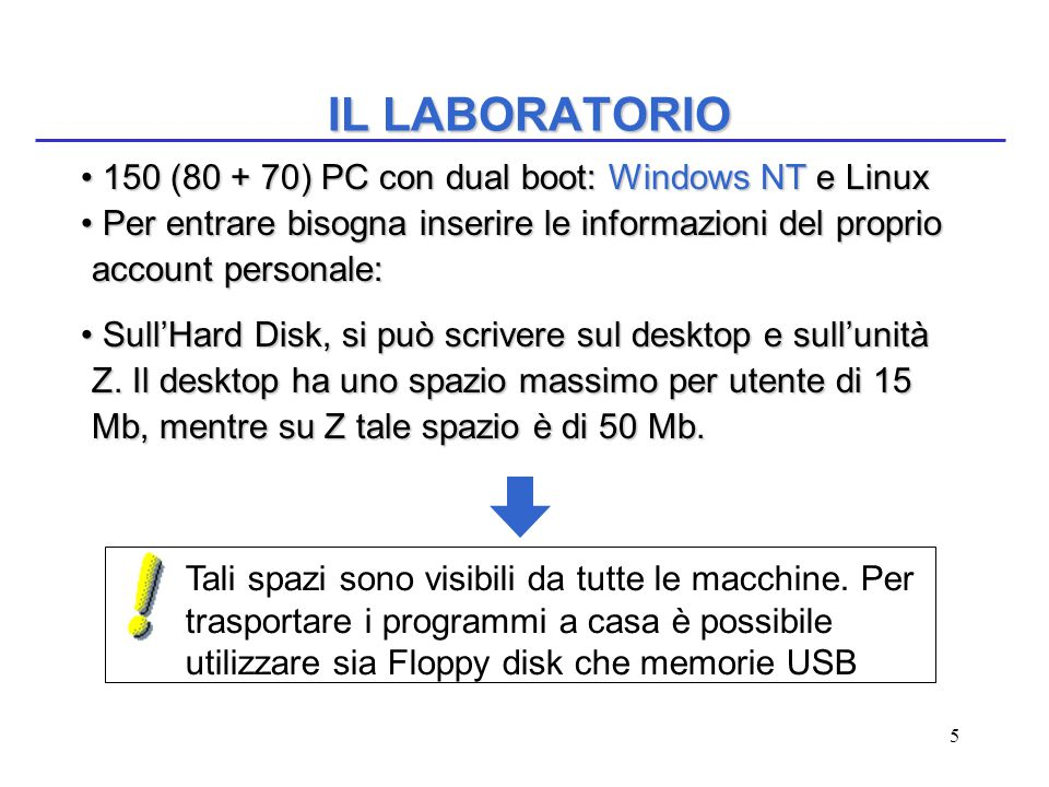 5 IL LABORATORIO 150 (80 + 70) PC con dual boot: Windows NT e Linux 150 (80 + 70) PC con dual boot: Windows NT e Linux Per entrare bisogna inserire le