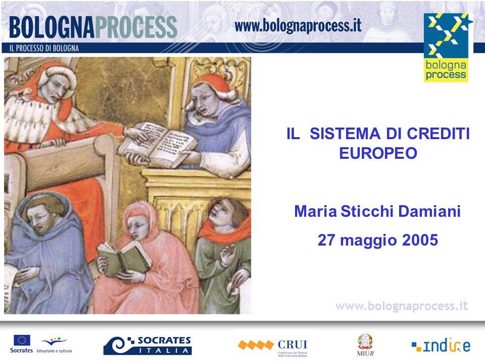 IL SISTEMA DI CREDITI EUROPEO Maria Sticchi Damiani 27 maggio 2005 www.bolognaprocess.i t