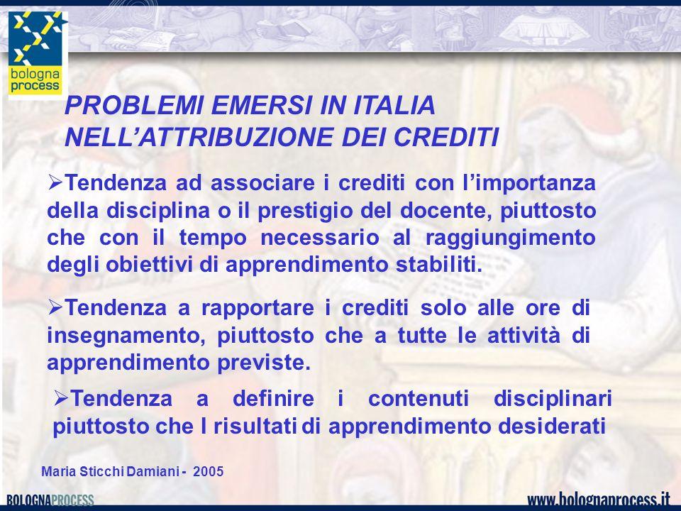 Maria Sticchi Damiani - 2005 PROBLEMI EMERSI IN ITALIA NELL'ATTRIBUZIONE DEI CREDITI  Tendenza ad associare i crediti con l'importanza della discipli