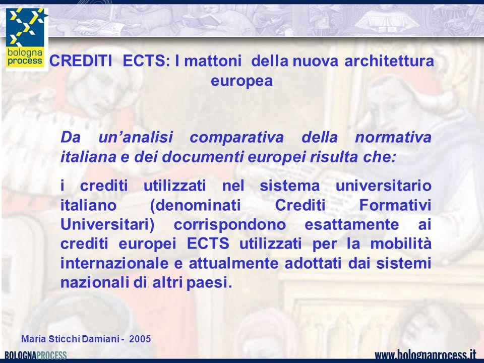 Maria Sticchi Damiani - 2005 Da un'analisi comparativa della normativa italiana e dei documenti europei risulta che: i crediti utilizzati nel sistema