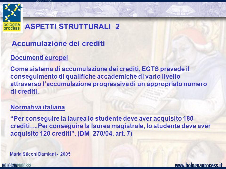 """Maria Sticchi Damiani - 2005 Accumulazione dei crediti Normativa italiana """"Per conseguire la laurea lo studente deve aver acquisito 180 crediti….Per c"""