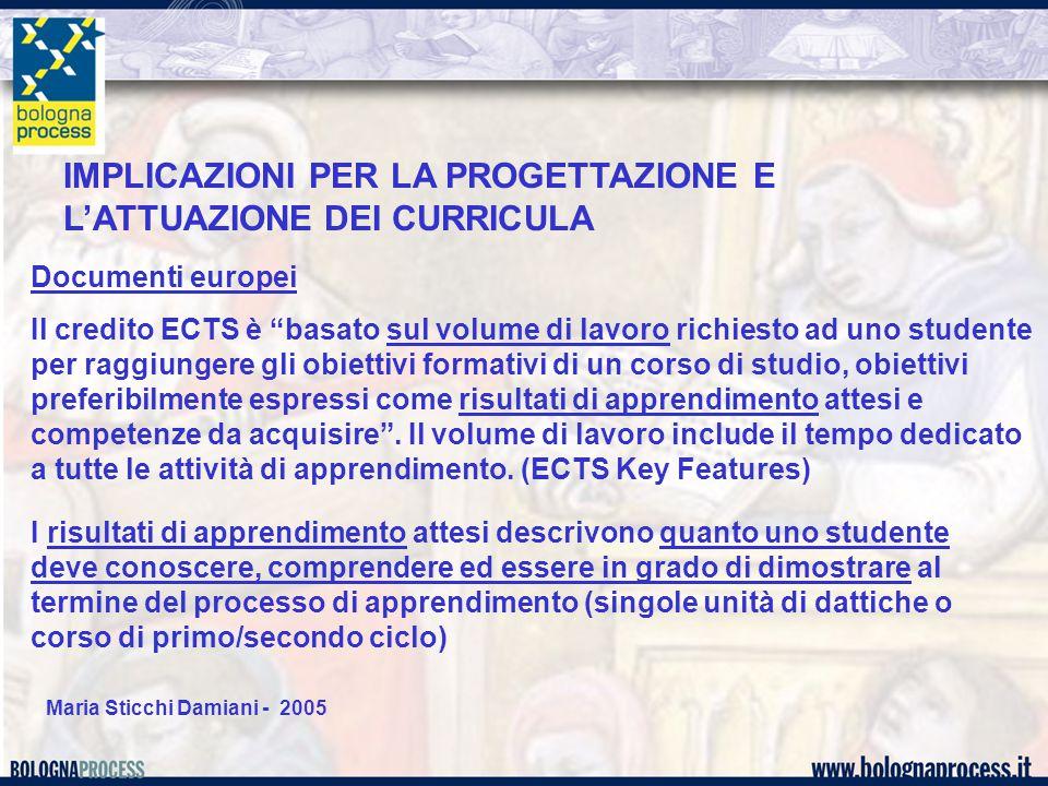 """Maria Sticchi Damiani - 2005 Documenti europei Il credito ECTS è """"basato sul volume di lavoro richiesto ad uno studente per raggiungere gli obiettivi"""