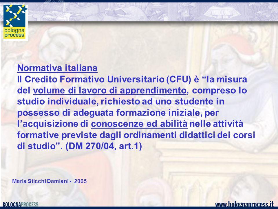 """Maria Sticchi Damiani - 2005 Normativa italiana Il Credito Formativo Universitario (CFU) è """"la misura del volume di lavoro di apprendimento, compreso"""