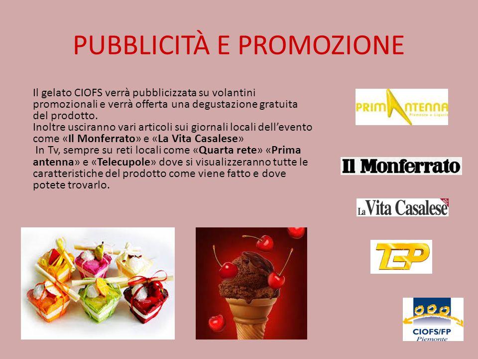 PUBBLICITÀ E PROMOZIONE Il gelato CIOFS verrà pubblicizzata su volantini promozionali e verrà offerta una degustazione gratuita del prodotto. Inoltre