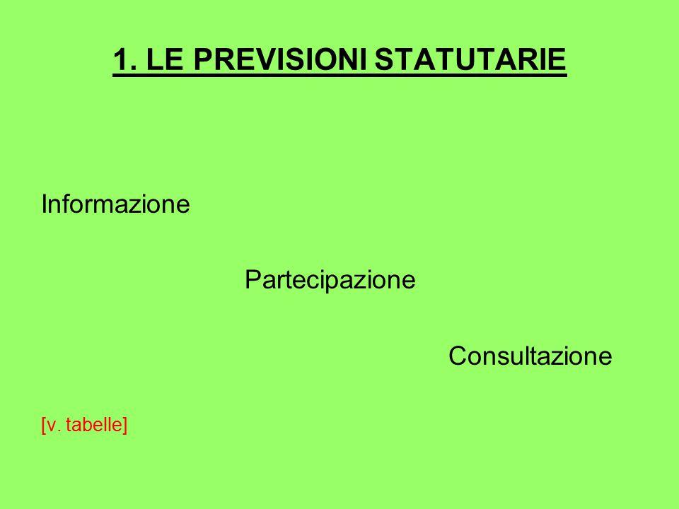 1. LE PREVISIONI STATUTARIE Informazione Partecipazione Consultazione [v. tabelle]