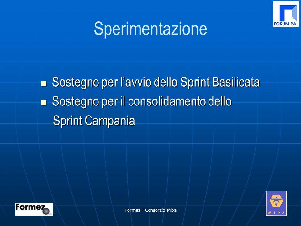 Formez - Consorzio Mipa Sperimentazione Sostegno per l'avvio dello Sprint Basilicata Sostegno per l'avvio dello Sprint Basilicata Sostegno per il consolidamento dello Sostegno per il consolidamento dello Sprint Campania Sprint Campania