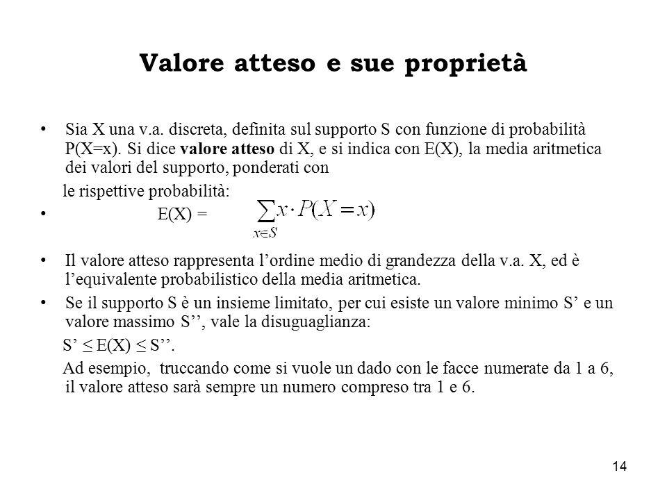 14 Valore atteso e sue proprietà Sia X una v.a. discreta, definita sul supporto S con funzione di probabilità P(X=x). Si dice valore atteso di X, e si