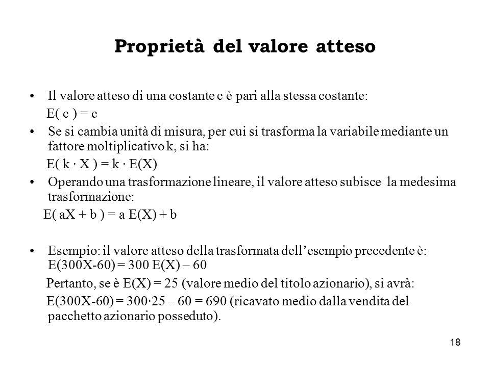 18 Proprietà del valore atteso Il valore atteso di una costante c è pari alla stessa costante: E( c ) = c Se si cambia unità di misura, per cui si trasforma la variabile mediante un fattore moltiplicativo k, si ha: E( k · X ) = k · E(X) Operando una trasformazione lineare, il valore atteso subisce la medesima trasformazione: E( aX + b ) = a E(X) + b Esempio: il valore atteso della trasformata dell'esempio precedente è: E(300X-60) = 300 E(X) – 60 Pertanto, se è E(X) = 25 (valore medio del titolo azionario), si avrà: E(300X-60) = 300·25 – 60 = 690 (ricavato medio dalla vendita del pacchetto azionario posseduto).