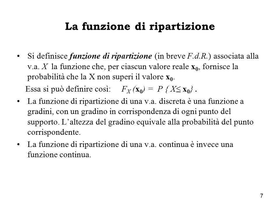 7 La funzione di ripartizione Si definisce funzione di ripartizione (in breve F.d.R.) associata alla v.a. X la funzione che, per ciascun valore reale
