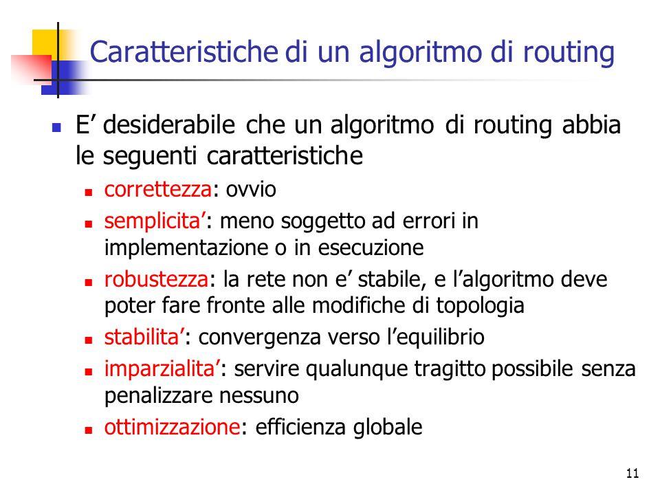 11 Caratteristiche di un algoritmo di routing E' desiderabile che un algoritmo di routing abbia le seguenti caratteristiche correttezza: ovvio semplic