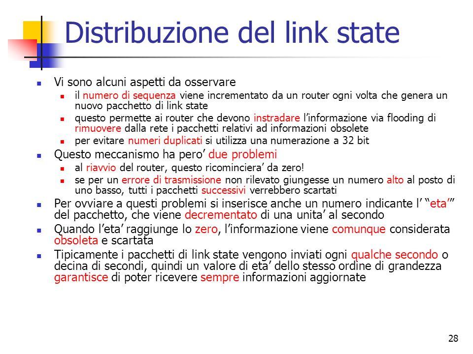 28 Distribuzione del link state Vi sono alcuni aspetti da osservare il numero di sequenza viene incrementato da un router ogni volta che genera un nuo
