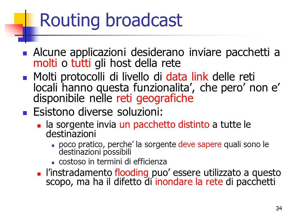 34 Routing broadcast Alcune applicazioni desiderano inviare pacchetti a molti o tutti gli host della rete Molti protocolli di livello di data link del